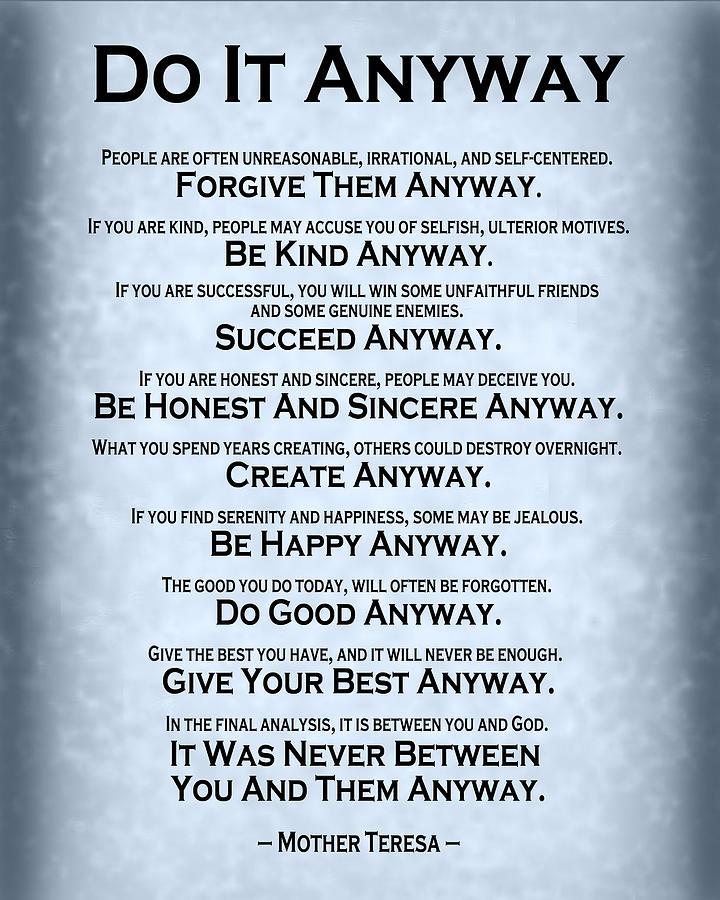 Do It Anyway - Mother Teresa - Blue Grey Digital Art