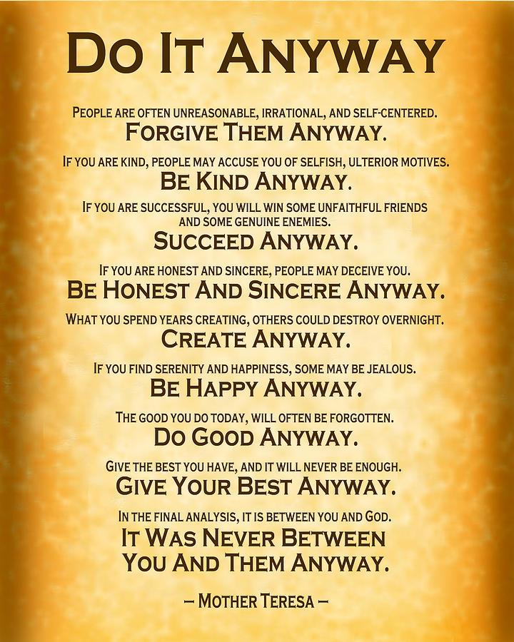 Do It Anyway - Mother Teresa -  Gold Digital Art