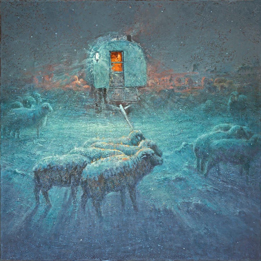 Sheep Wagon Painting - Do You Hear What I Hear by Mia DeLode