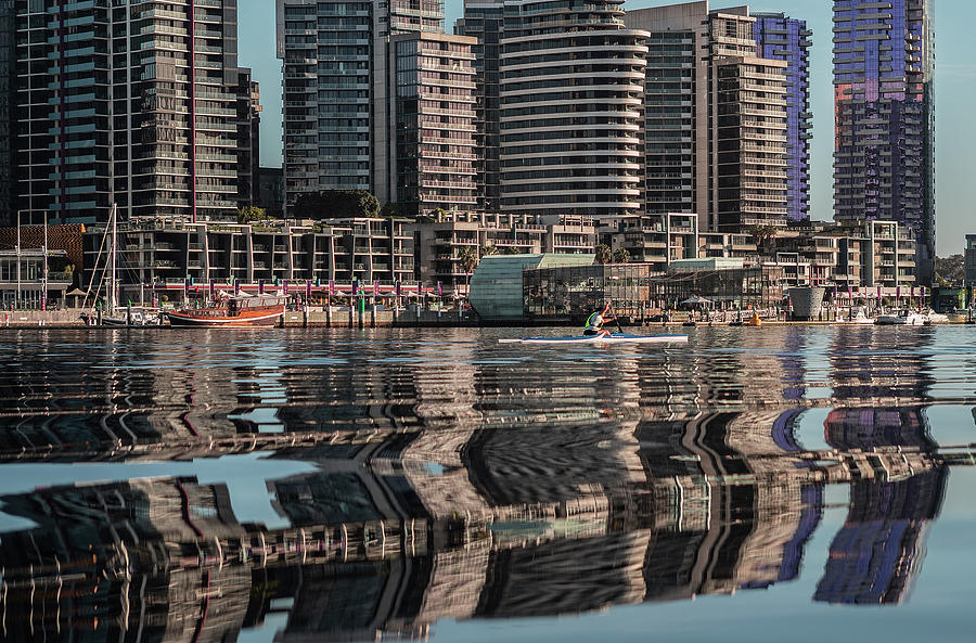 Melbourne Photograph - Docklands Reflections  by Leigh Henningham