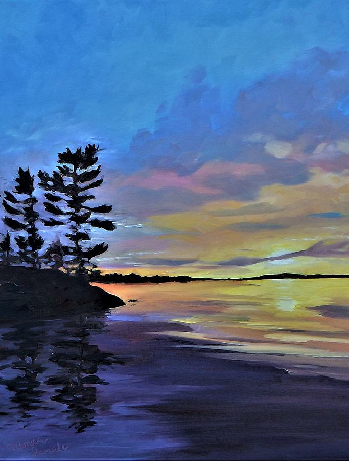 Sunset Painting - Dockside Sunset by Monica Ironside