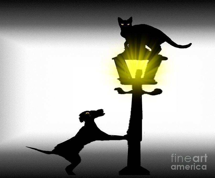 Dog And Cat Mixed Media