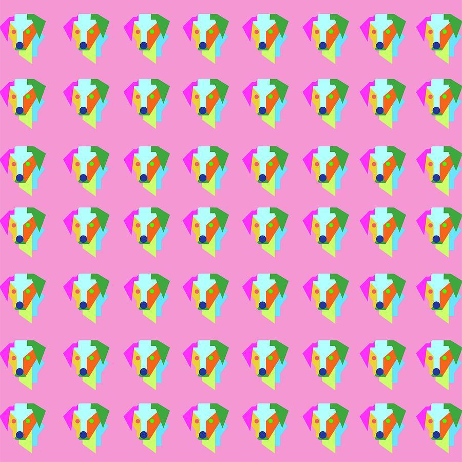 Dog Pattern Wpap Style Pink Background Digital Art