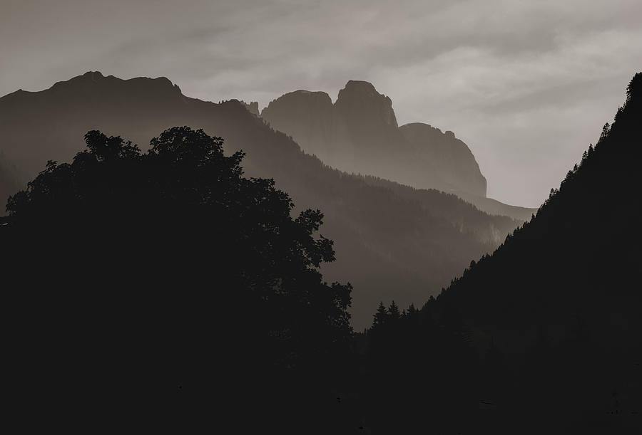 Dolomite Silhouette In Sepia Photograph