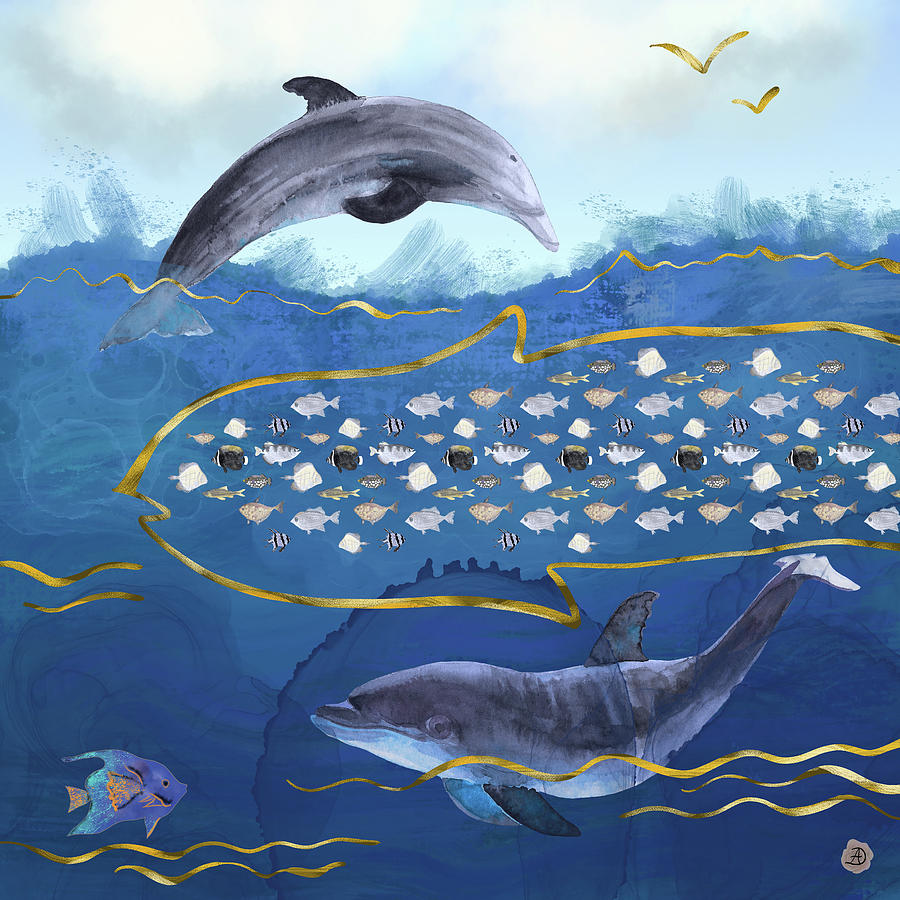 Dolphin Digital Art - Dolphins Hunting Fish - Surreal Seascape by Andreea Dumez