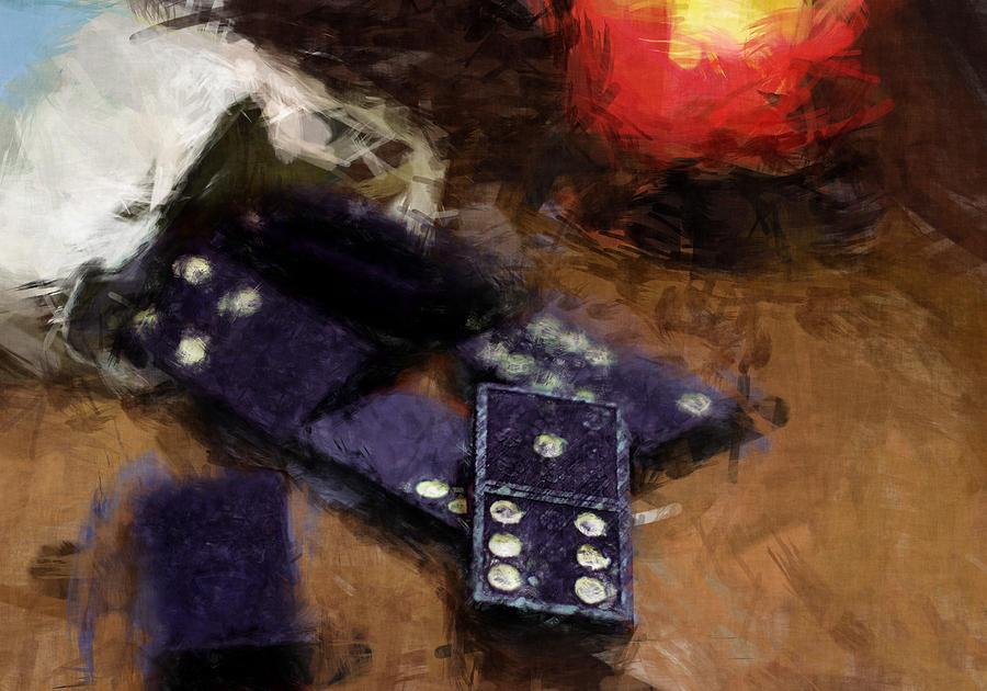 Dominoes Digital Art - Dominoes By Candlelight by Flo Karp