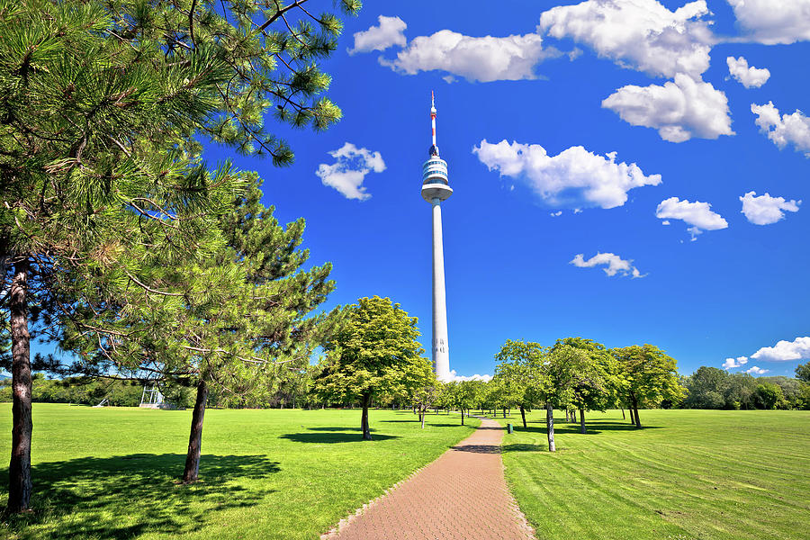Donaupark landscape walkway and Donauturm tower view in Vienna by Brch Photography