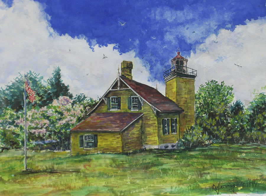 Door County Lighthouse Acrylic 18x14 Painting by Doug Jerving