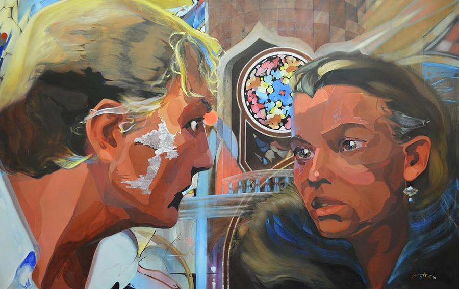 Oil Painting Painting - Dora Mina And The Man Entering The Room by Andrew Sandberg
