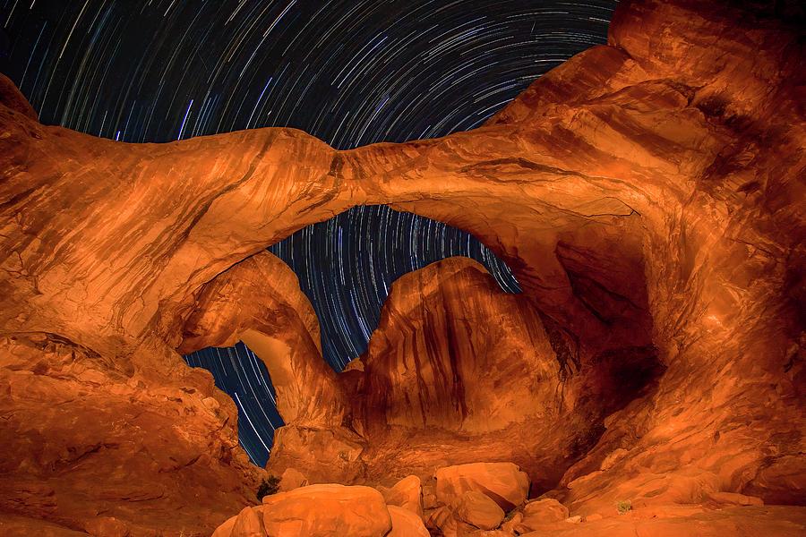 3scape Photograph - Double Arch Star Trails by Adam Romanowicz