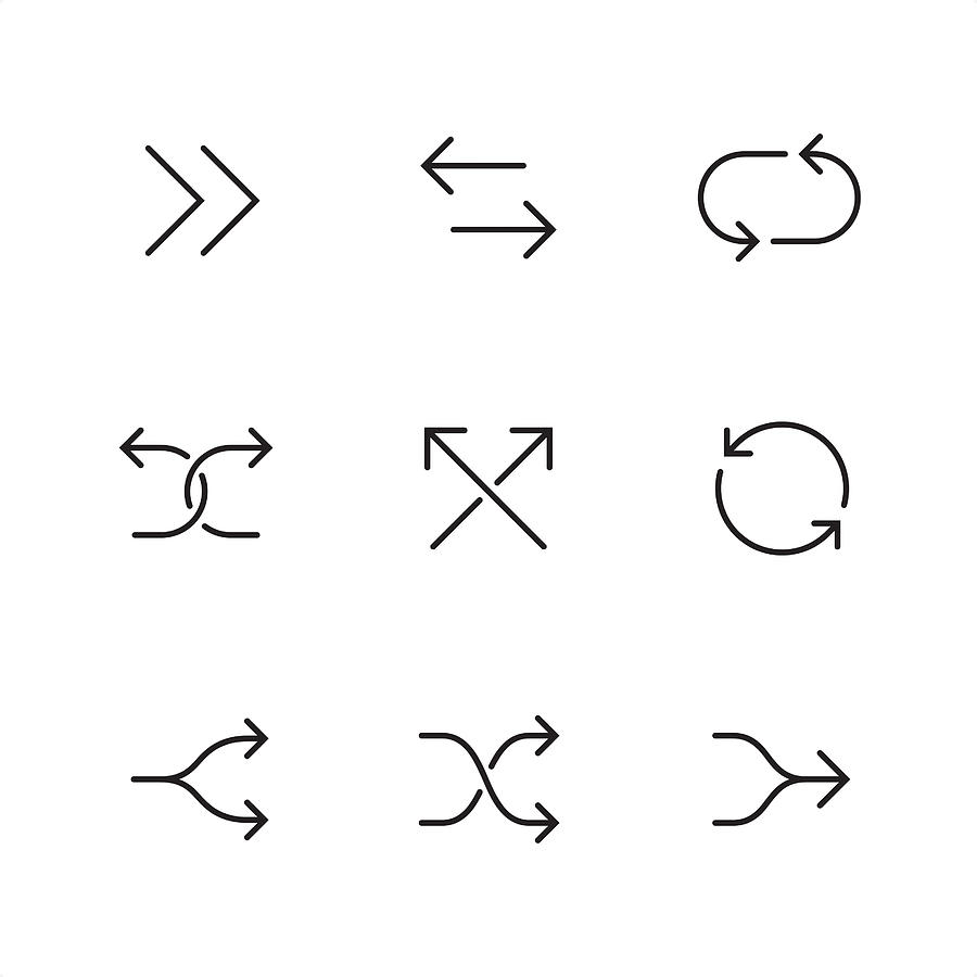 Double arrows - Pixel Perfect outline icons Drawing by Lushik