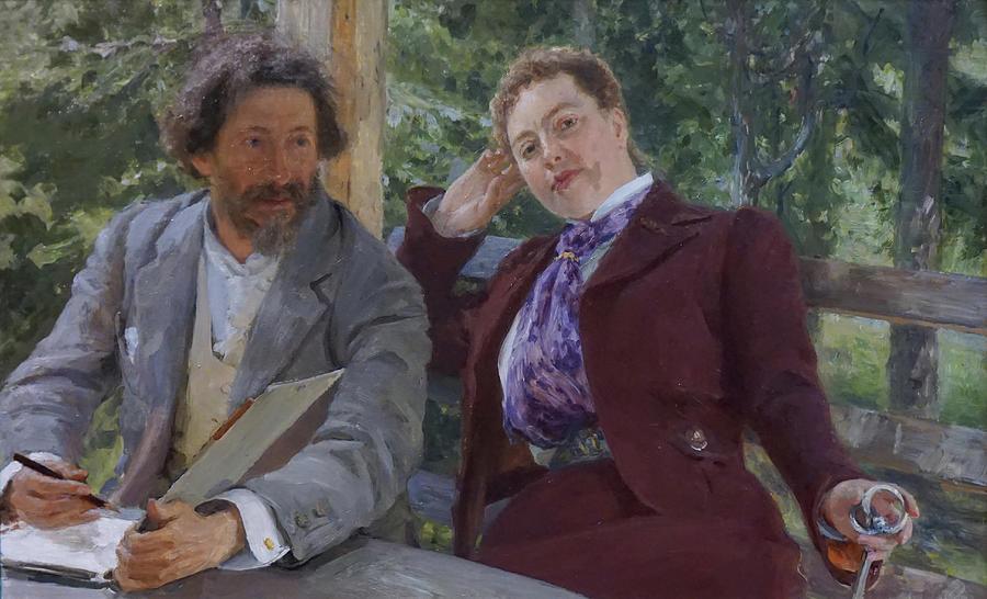 Ilya Repin Painting - Double Portrait of Natalia Nordmann and Ilya Repin by Ilya Repin