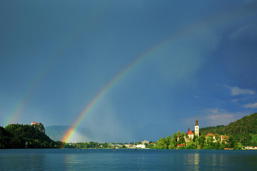 Double rainbow over Lake Bled by Ian Middleton