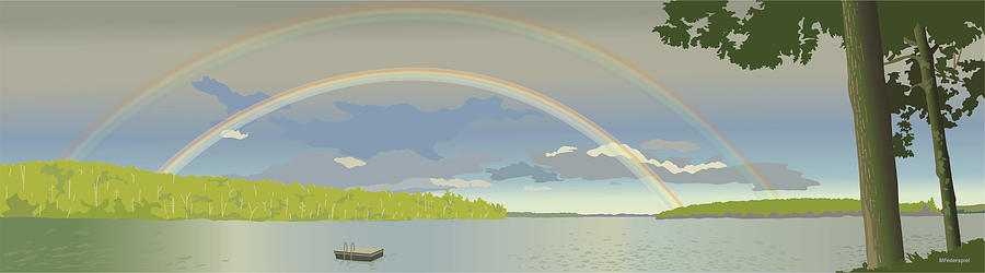 Rainbow Digital Art - Double Rainbow Over the Lake by Marian Federspiel