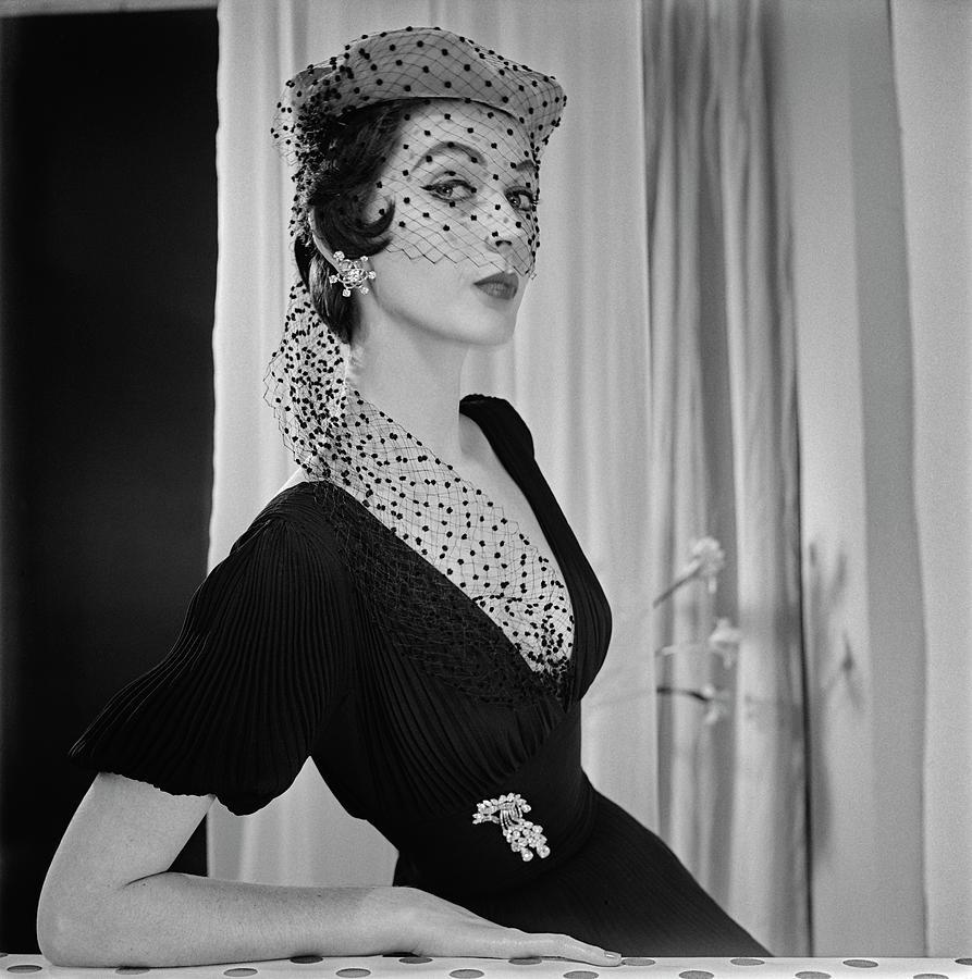 Dovima Wearing Veiled Hat  Photograph by Horst P Horst