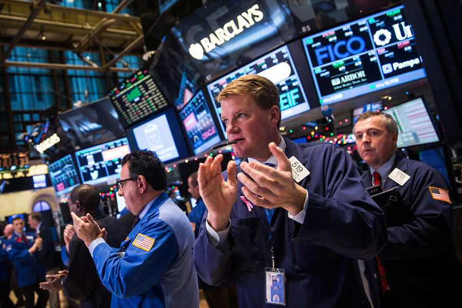 Dow Rises Over 400 Points Day After Fed Signals No Rise In Interest Rates Photograph by Andrew Burton