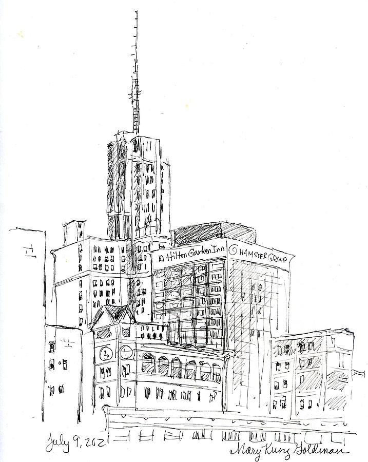 Buffalo Ny Skyline Drawing - Downtown Buffalo View From Vue by Mary Kunz Goldman