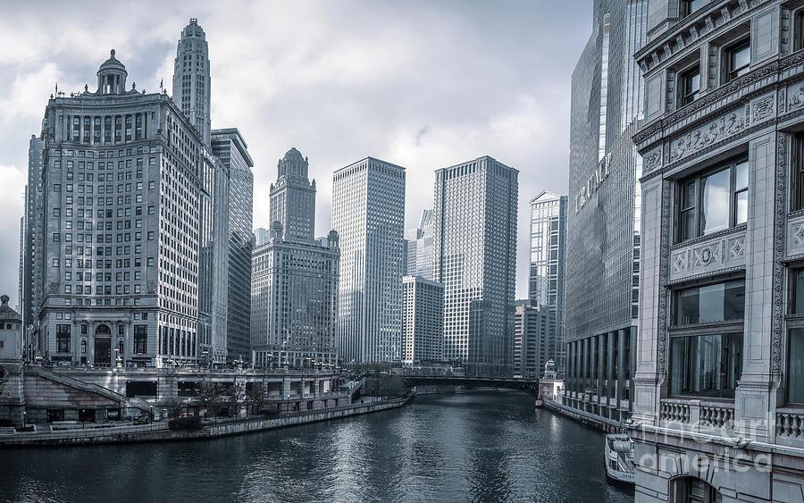 Downtown Chicago Riverwalk Cool Light by Edward Fielding