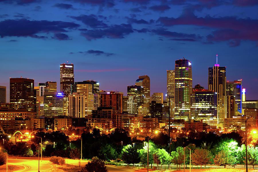 Downtown Denver Colorful Colorado Skyline At Twilight Photograph