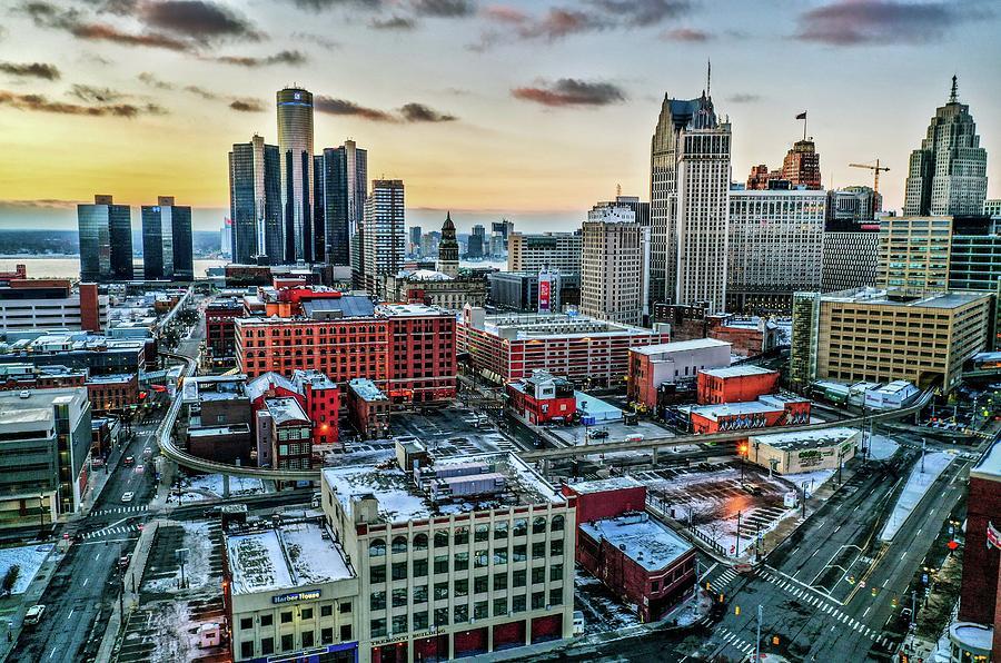 Downtown Detroit Buildings DJI_0732 by Michael Thomas