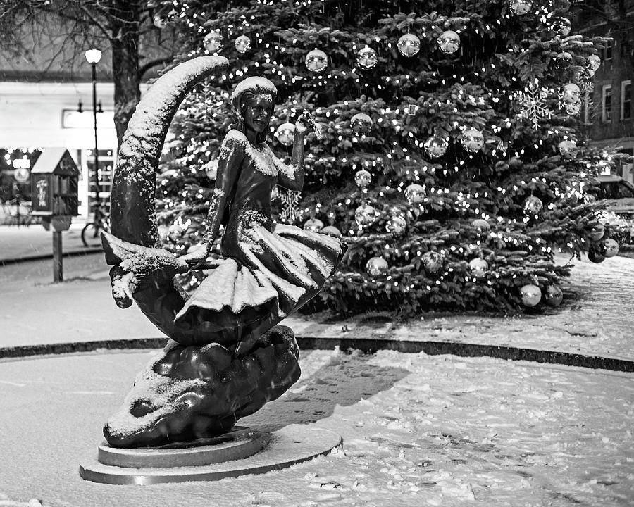 Downtown Salem Christmas Tree Snow Storm Black and White Snow by Toby McGuire