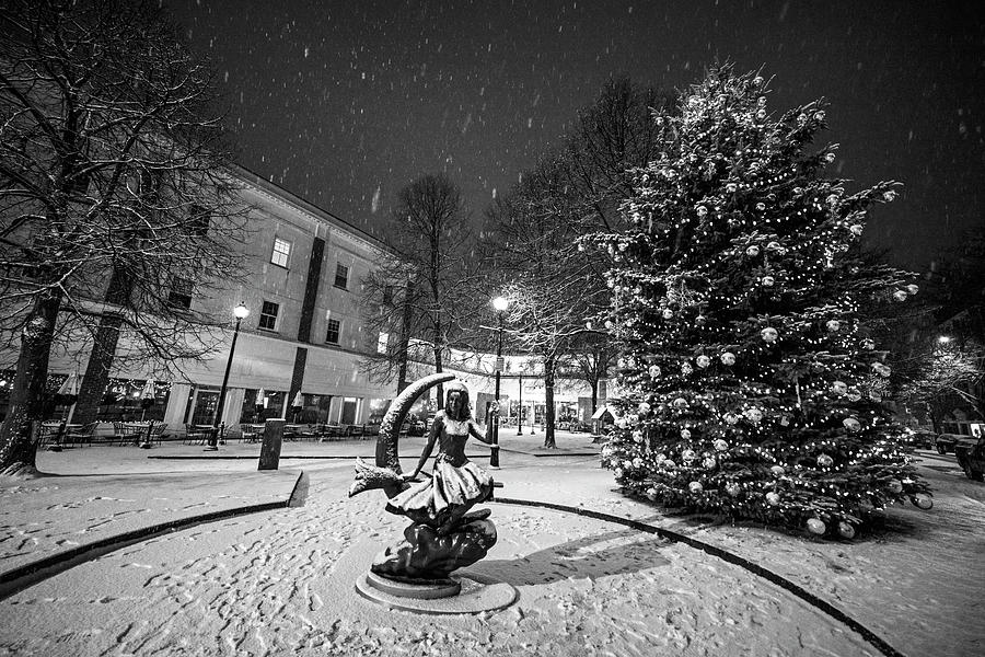 Downtown Salem Christmas Tree Snow Storm Black and White by Toby McGuire