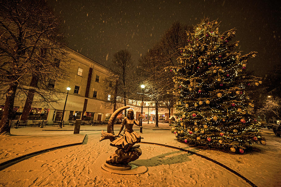 Downtown Salem Christmas Tree Snow Storm by Toby McGuire
