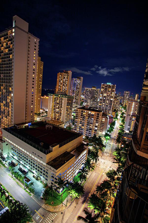 Downtown Waikiki at Night by Anthony Jones