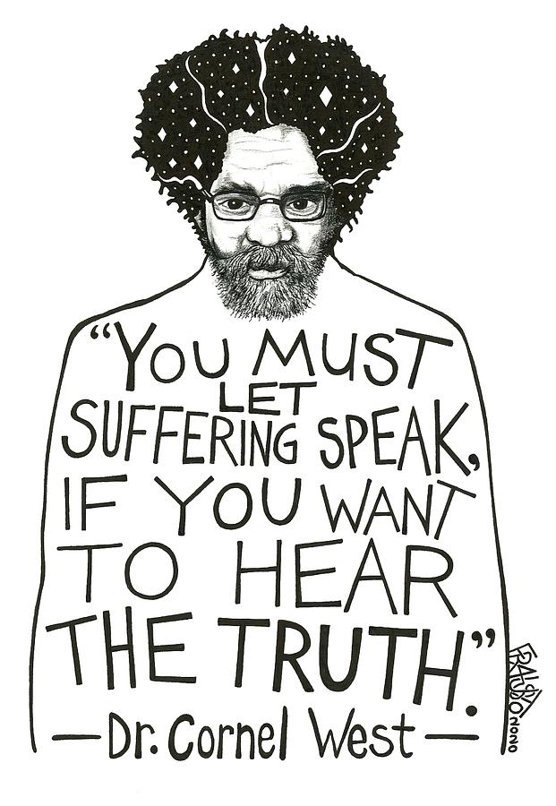 Pen And Ink Illustration Drawing - Dr. Cornel West Drawing by Rick Frausto