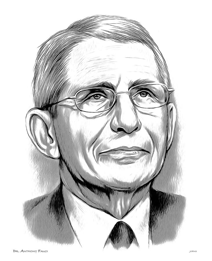 Pencil Drawing - Dr Fauci by Greg Joens