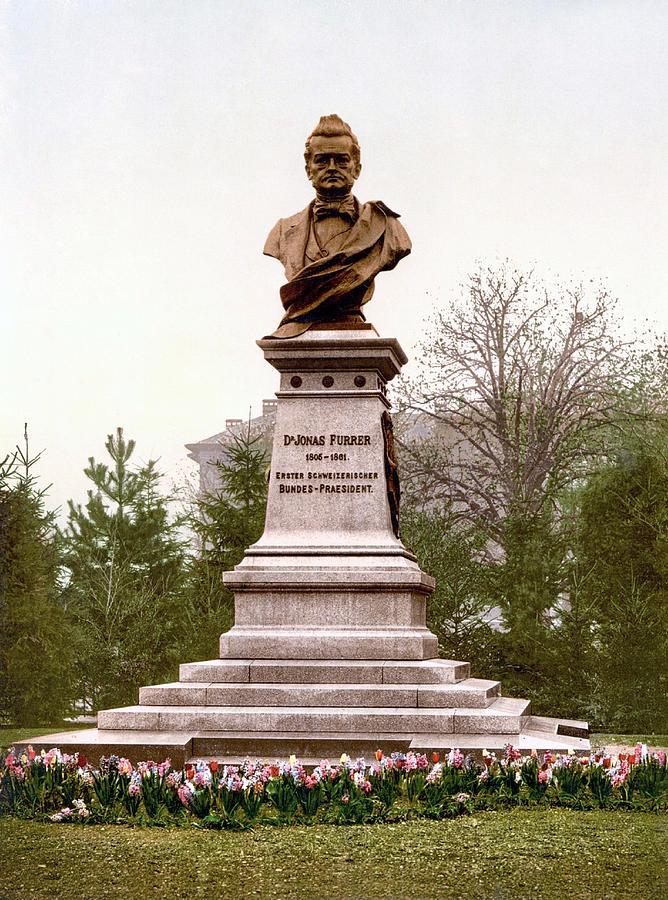 Dr. Jonas Furrer Monument Statue, Winterthur, Zurich, Switzerland 1890. Photograph