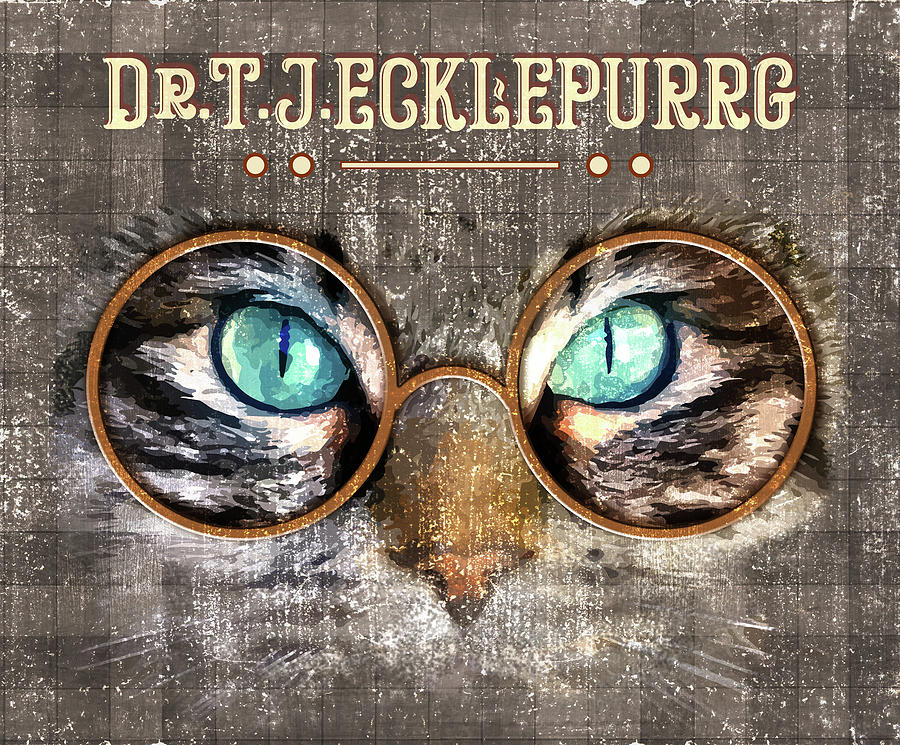 Oculist Mixed Media - Dr. T. J. Ecklepurrg is watching you - Dr. T.J Eckleburg - The Great Gatsby - Cat with glasses 03 by Studio Grafiikka