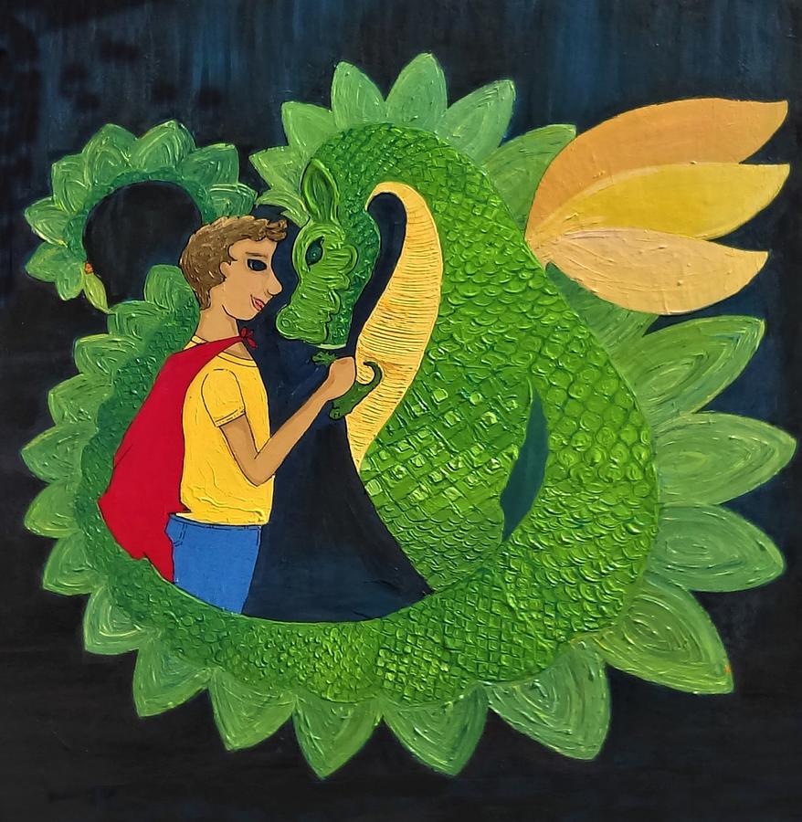 Caroline Painting - Dragon and His Boy by Caroline Sainis