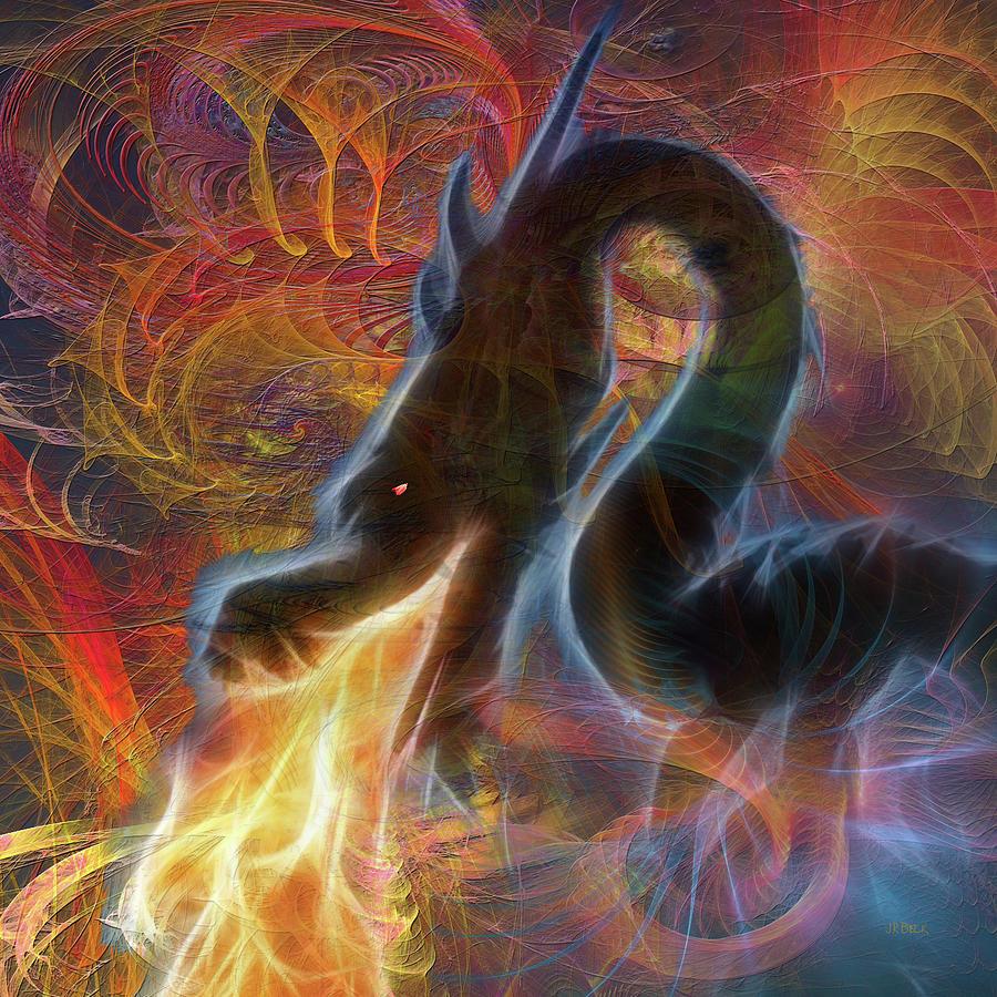 Dragons Digital Art - Dragon Fire - Square Version by John Robert Beck