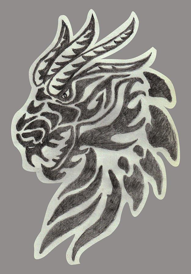 Dragon Drawing - Dragon Head Sketch by Sandeep Choudhary