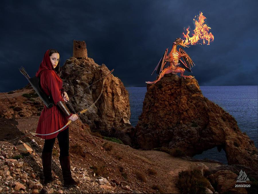 Female Archer And Fire Breathing Dragon. Digital Art