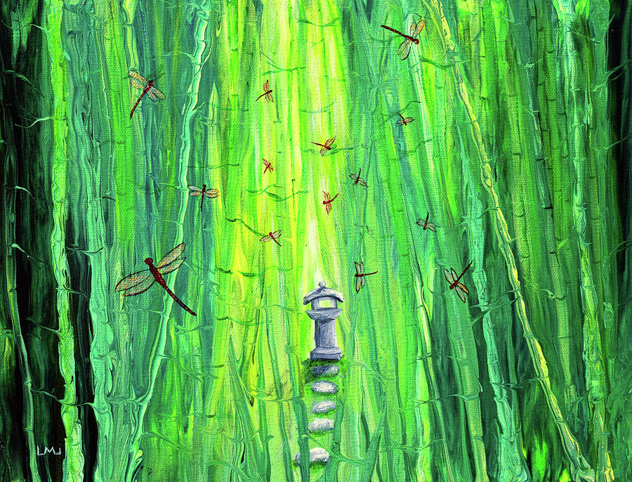 Dragonflies Around A Shinto Shrine Painting
