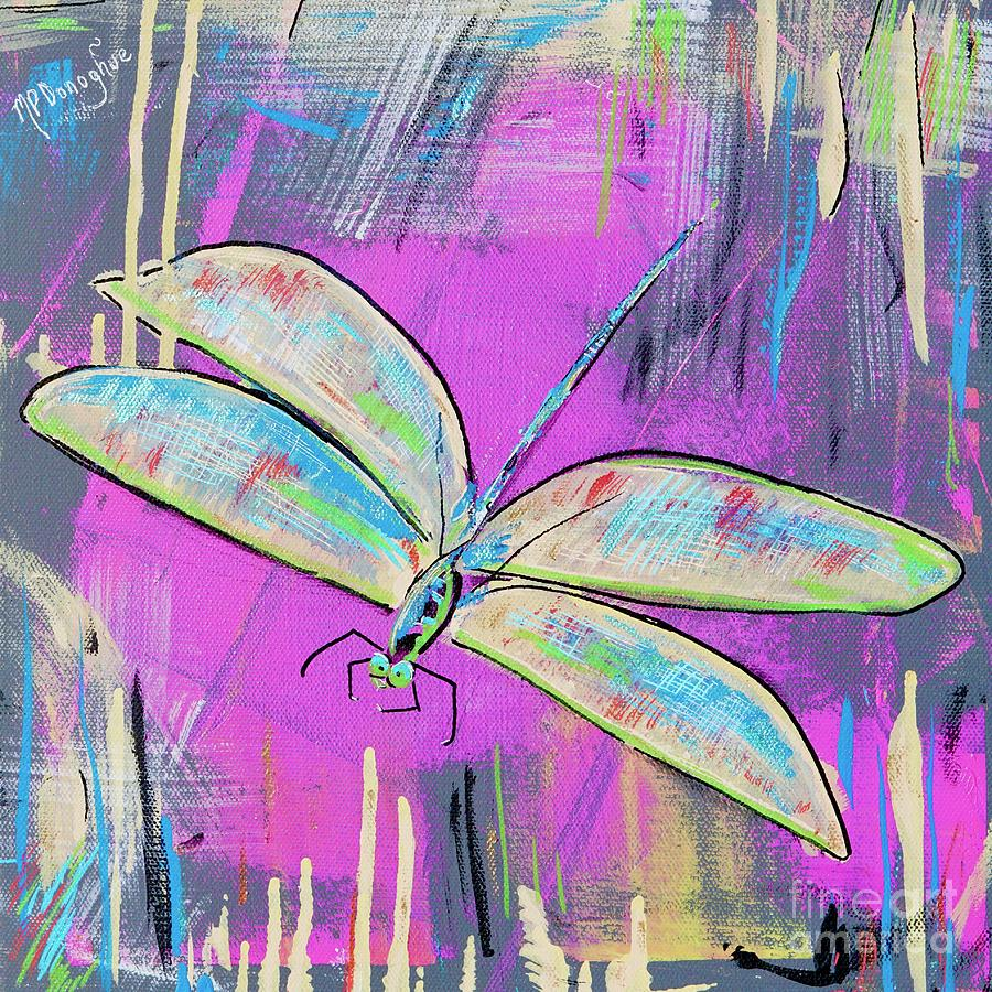 Dragonfly Fun- Pink- Turquoise Painting