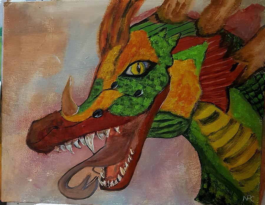 Acrylic Painting - Dragons Kiss by Naomi Cooper