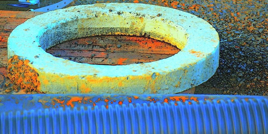 Drain Pipe And Concrete  Ring Photograph
