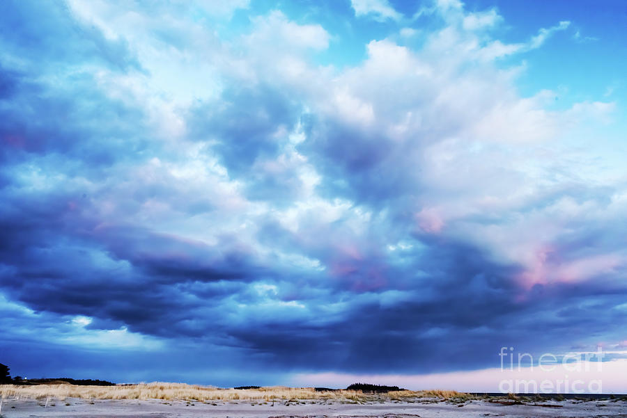 Dramatic Clouds on Popham Beach, Phippsburg, Maine by Anita Pollak
