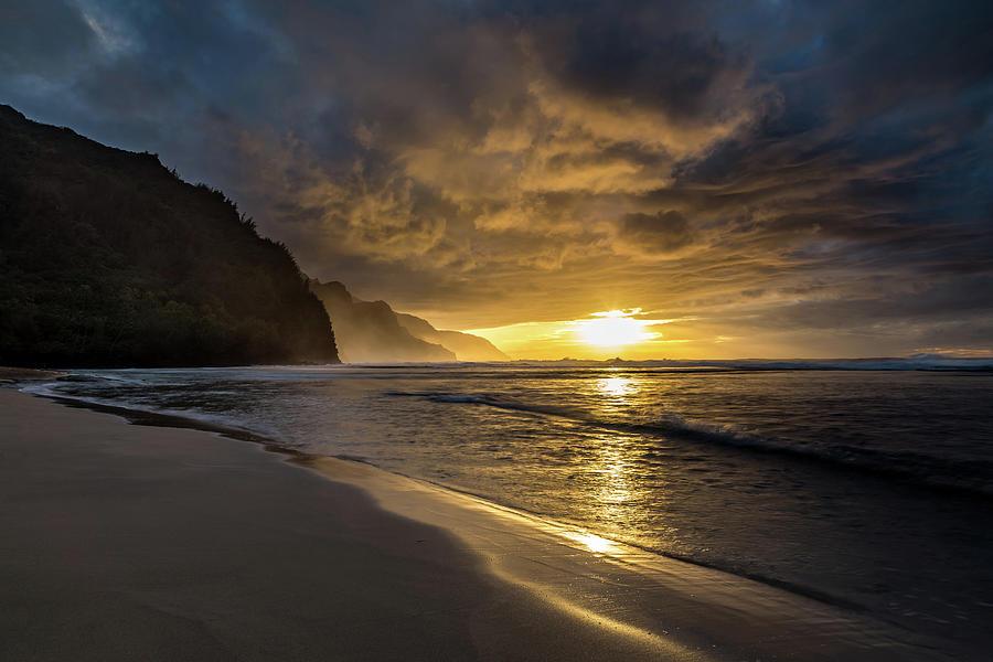 Dramatic Golden Coast Of Kauai Photograph
