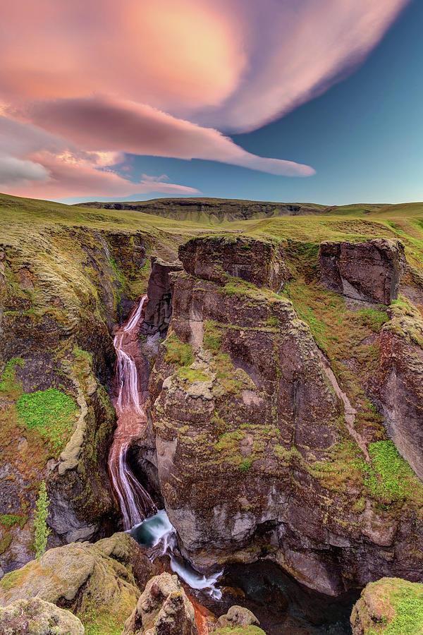Dramatic Sky At The Fjadrargljufur Canyon Photograph