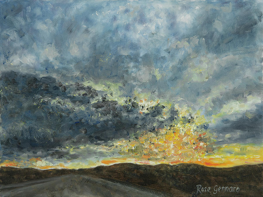 Sunset Painting - Dramatic Sky on Walkway Over the Hudson by Rose Gennaro