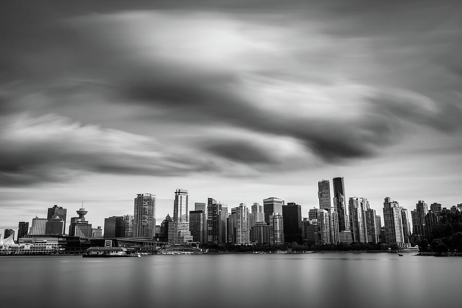 Dramatic Vancouver City Skyline In Black And White Photograph