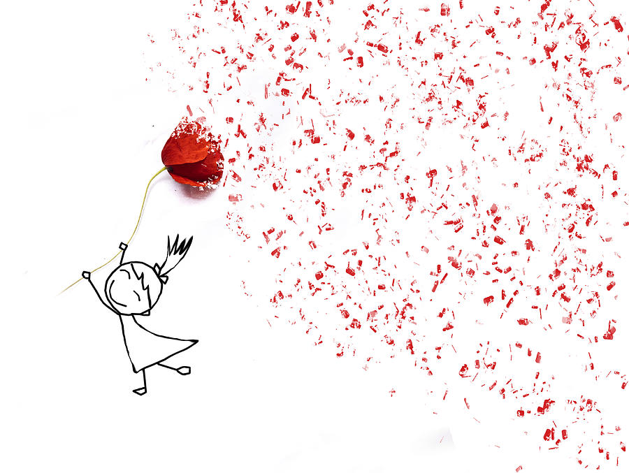 Drawing of a happy girl holding a poppy.  Announces the arrival of Spring Photograph by Juana Mari Moya