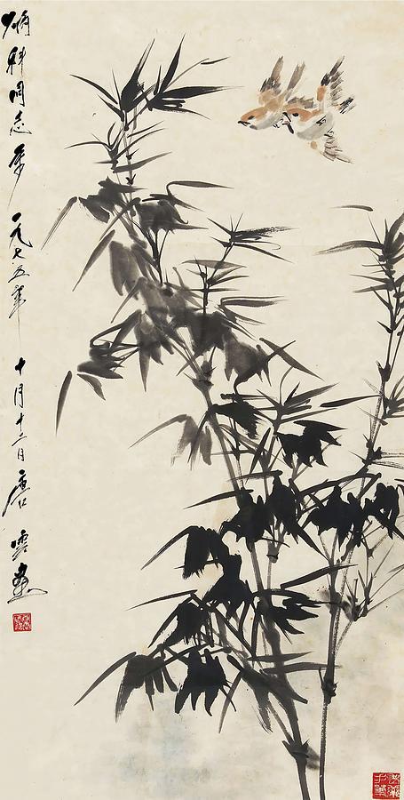 Tang Painting - Drawing Of Bamboo Flying Birds In       by Tang Yun