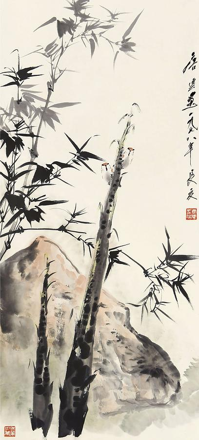 Tang Painting - Drawing Of Bamboos And Birds In The Year Of Wuwu         by Tang Yun