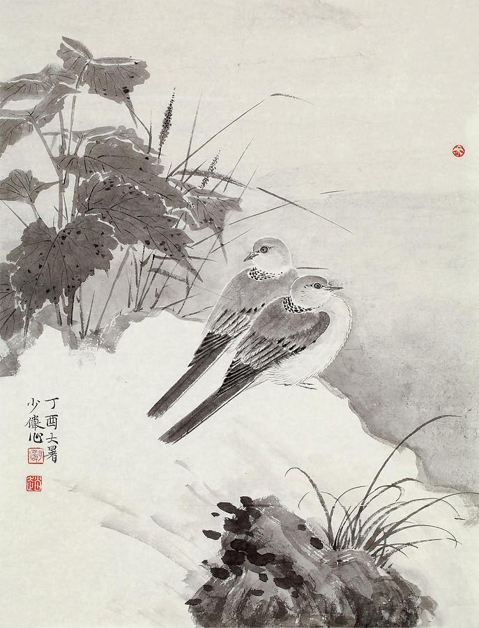Zhao Painting - Drawing Of Double Birds In       by Zhao Xiao Yan