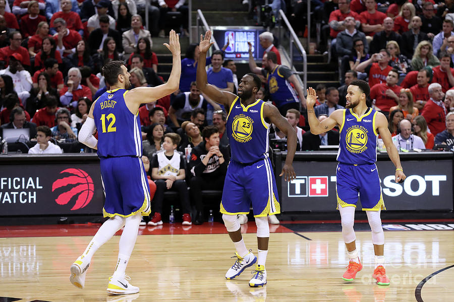 Draymond Green, Stephen Curry, and Andrew Bogut Photograph by Joe Murphy